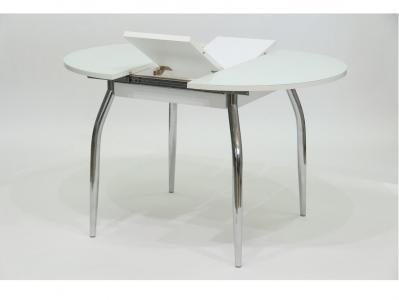 Стол круглый раздвижной со стеклом Гала 3 белый белый