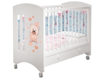 Кроватка детская Софи 1 Мишка Тедди Белая с ящиком