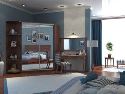 Угловой шкаф-купе Анна с 2-мя зеркалами и угловым элементом итальянский орех